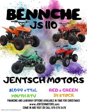 2020 Bennche JS110 for sale at JENTSCH MOTORS in Hearne TX