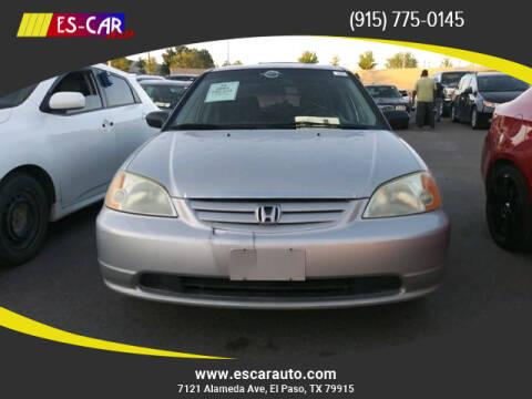 2003 Honda Civic for sale at Escar Auto in El Paso TX
