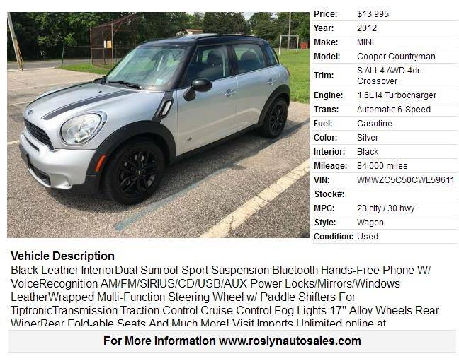 2012 Mini Cooper Countryman Awd S All4 4dr Crossover In Roslyn