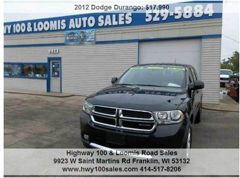 2012 Dodge Durango for sale at Highway 100 & Loomis Road Sales in Franklin WI
