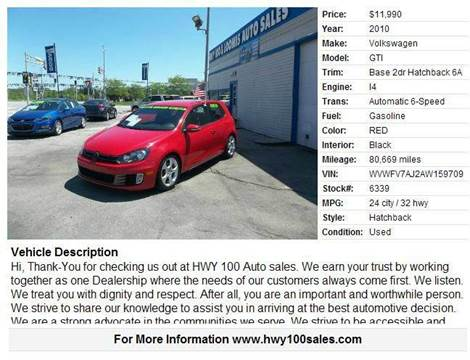 2010 Volkswagen GTI for sale at Highway 100 & Loomis Road Sales in Franklin WI