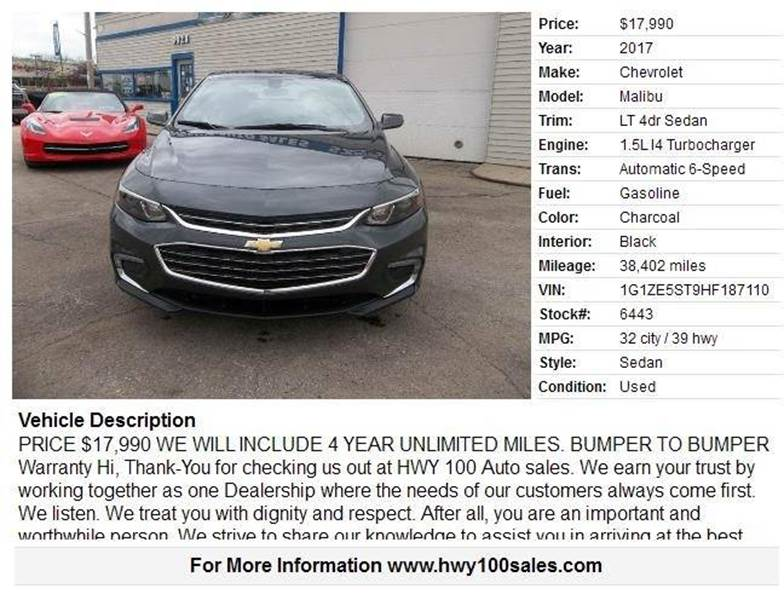 2017 Chevrolet Malibu for sale at Highway 100 & Loomis Road Sales in Franklin WI