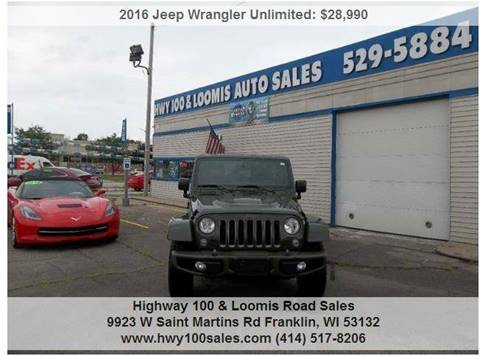 2016 Jeep Wrangler Unlimited for sale at Highway 100 & Loomis Road Sales in Franklin WI