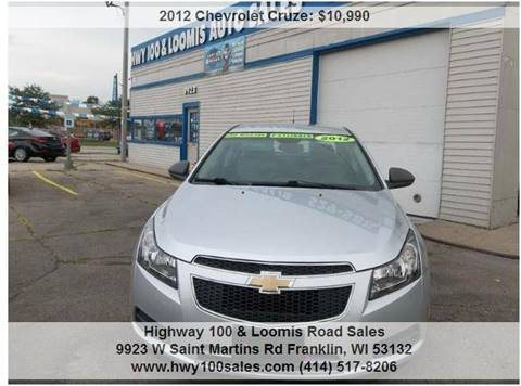 2012 Chevrolet Cruze for sale at Highway 100 & Loomis Road Sales in Franklin WI