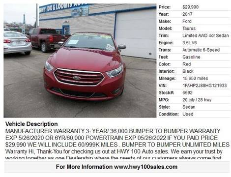 2017 Ford Taurus for sale at Highway 100 & Loomis Road Sales in Franklin WI