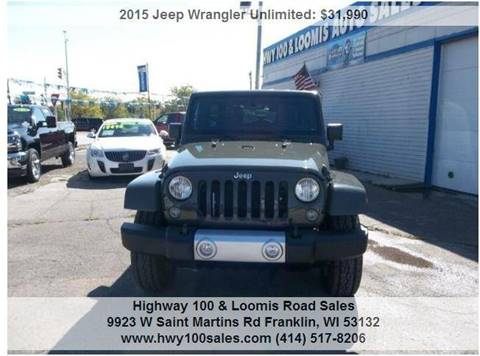 2015 Jeep Wrangler Unlimited for sale at Highway 100 & Loomis Road Sales in Franklin WI