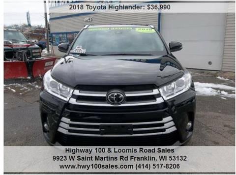 2018 Toyota Highlander for sale at Highway 100 & Loomis Road Sales in Franklin WI