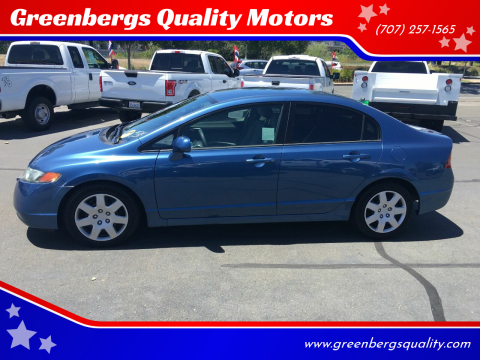 2007 Honda Civic LX for sale at Greenbergs Quality Motors in Napa CA