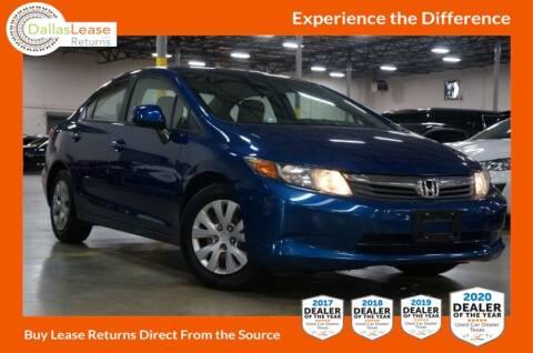 2012 Honda Civic for sale at Dallas Auto Finance in Dallas TX
