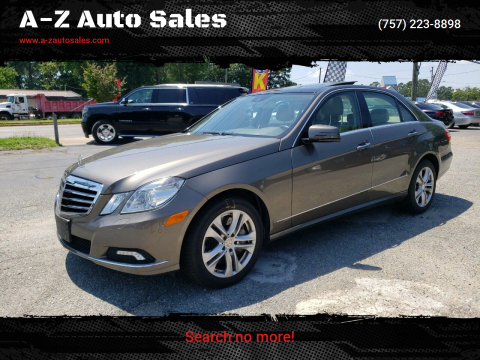 2010 Mercedes-Benz E-Class for sale at A-Z Auto Sales in Newport News VA