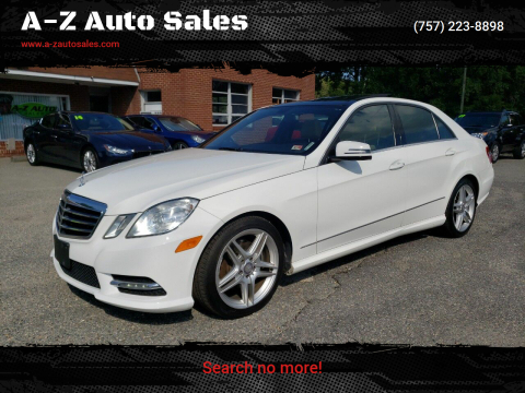 2013 Mercedes-Benz E-Class for sale at A-Z Auto Sales in Newport News VA