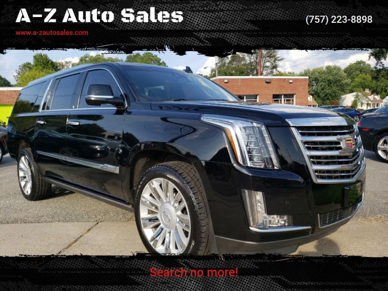2016 Cadillac Escalade ESV for sale at A-Z Auto Sales in Newport News VA