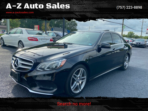 2014 Mercedes-Benz E-Class for sale at A-Z Auto Sales in Newport News VA
