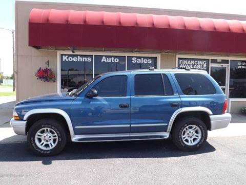 2002 Dodge Durango for sale at Koehn's Auto Sales and OK Car Rentals in Mcpherson KS