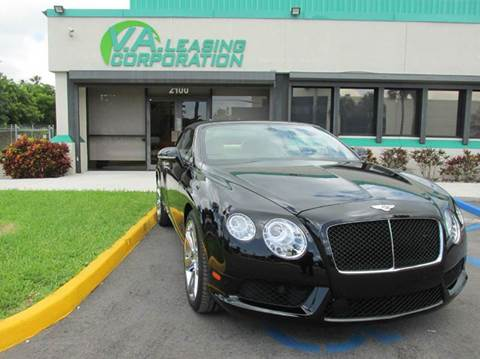 2013 Bentley Continental GTC V8 for sale at VA Leasing Corporation in Doral FL