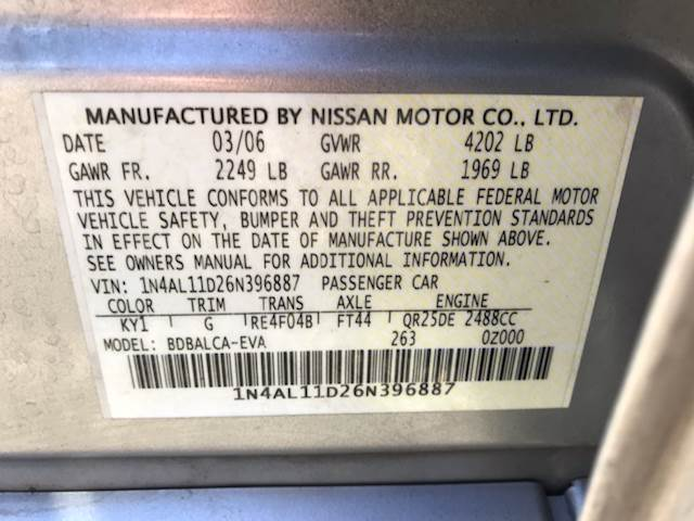 nissan altima 2006 owners manual
