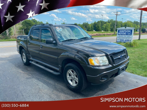 2005 Ford Explorer Sport Trac for sale at SIMPSON MOTORS in Youngstown OH