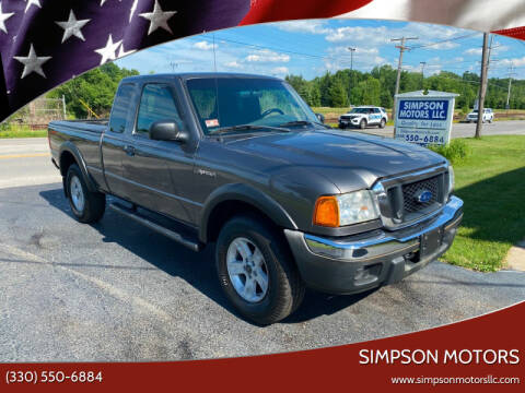 2005 Ford Ranger for sale at SIMPSON MOTORS in Youngstown OH