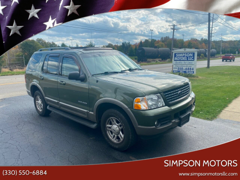 2002 Ford Explorer for sale at SIMPSON MOTORS in Youngstown OH