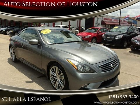 2013 Infiniti G37 Convertible for sale at Auto Selection of Houston in Houston TX
