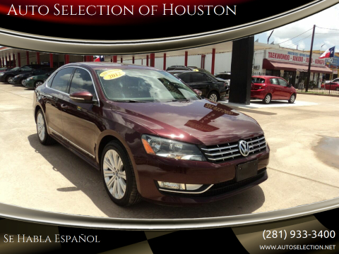 2012 Volkswagen Passat for sale at Auto Selection of Houston in Houston TX