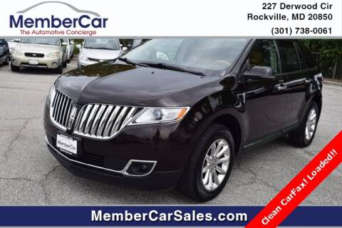 2013 Lincoln MKX for sale at MemberCar in Rockville MD