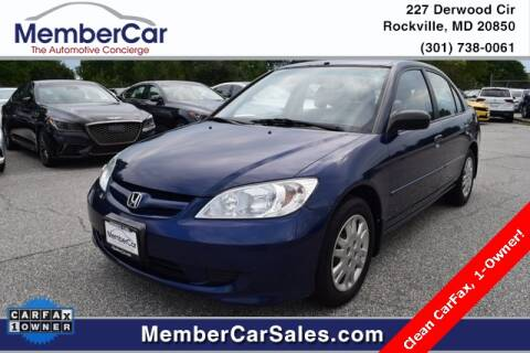 2004 Honda Civic for sale at MemberCar in Rockville MD