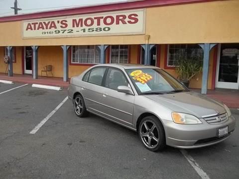 2002 Honda Civic for sale at Atayas Motors INC #1 in Sacramento CA