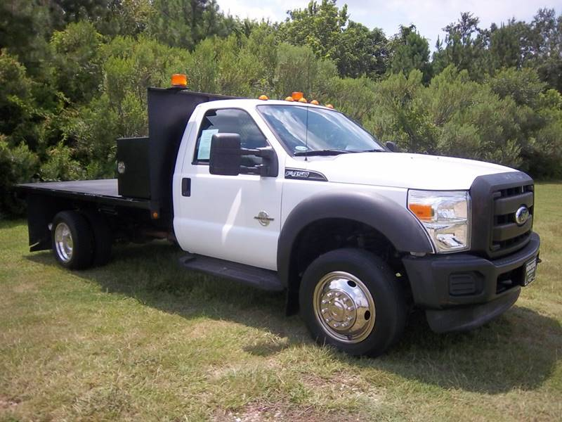 2011 FORD F450 XL 12FT STEEL FLAT BED 2DR REG CAB white 12ft steel flat bed with a cross box wil