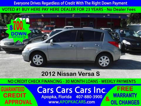 2012 Nissan Versa for sale at CARS CARS CARS INC in Apopka FL