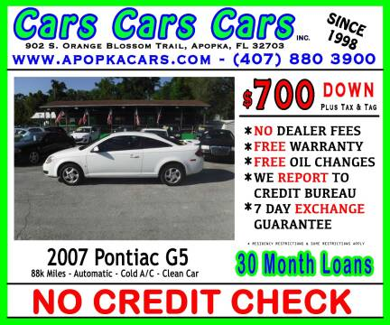 2007 Pontiac G5 for sale at CARS CARS CARS INC in Apopka FL