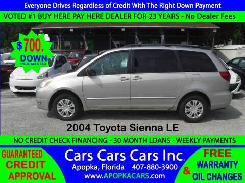 2004 Toyota Sienna for sale at CARS CARS CARS INC in Apopka FL