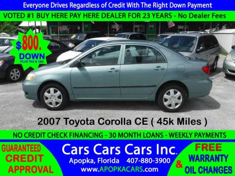 2007 Toyota Corolla for sale at CARS CARS CARS INC in Apopka FL
