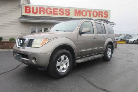 2006 Nissan Pathfinder for sale at Burgess Motors Inc in Michigan City IN