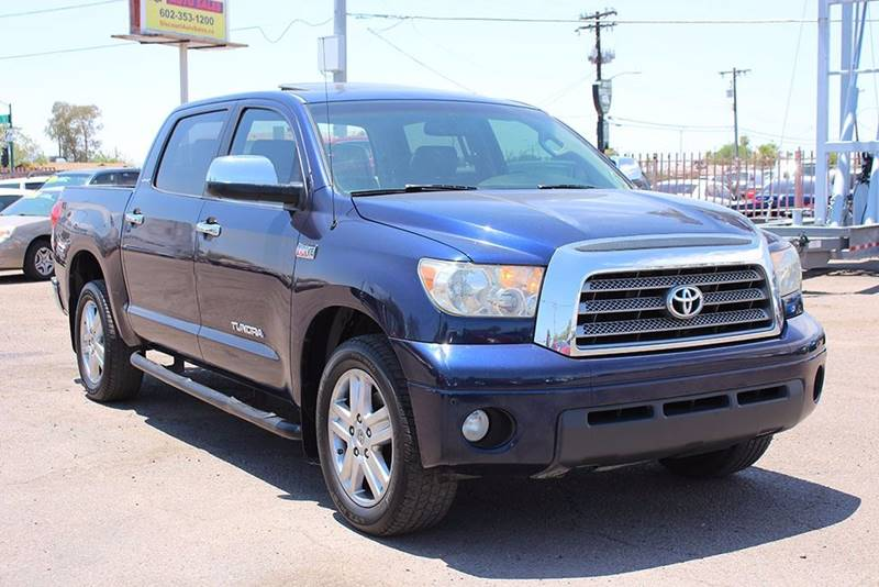 2007 TOYOTA TUNDRA LIMITED 4DR CREWMAX CAB SB 57L blue financing available all prices are subje