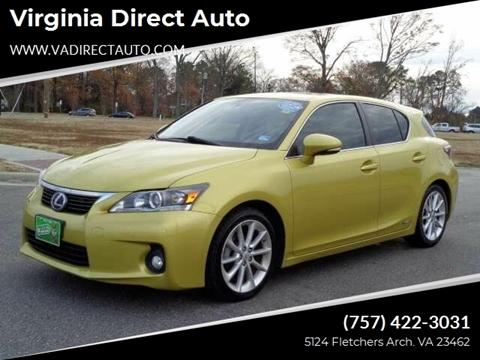 2012 Lexus CT 200h for sale at Virginia Direct Auto in Virginia Beach VA