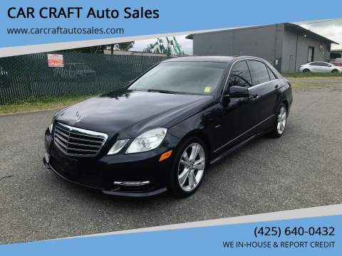 2012 Mercedes-Benz E-Class for sale at Car Craft Auto Sales Inc in Lynnwood WA