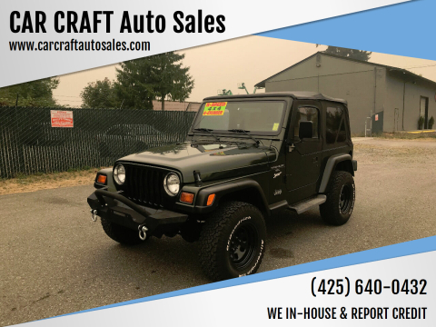 1997 Jeep Wrangler for sale at Car Craft Auto Sales Inc in Lynnwood WA