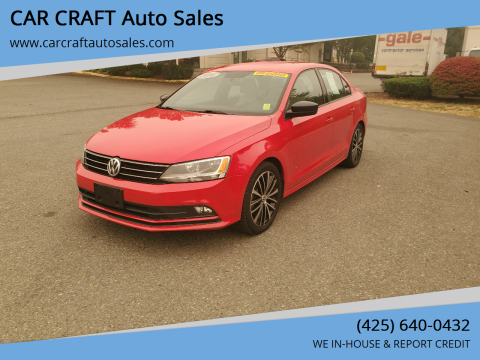 2016 Volkswagen Jetta for sale at Car Craft Auto Sales Inc in Lynnwood WA