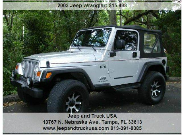 2003 jeep wrangler x 4wd 2dr suv in tampa fl jeep and truck usa. Black Bedroom Furniture Sets. Home Design Ideas
