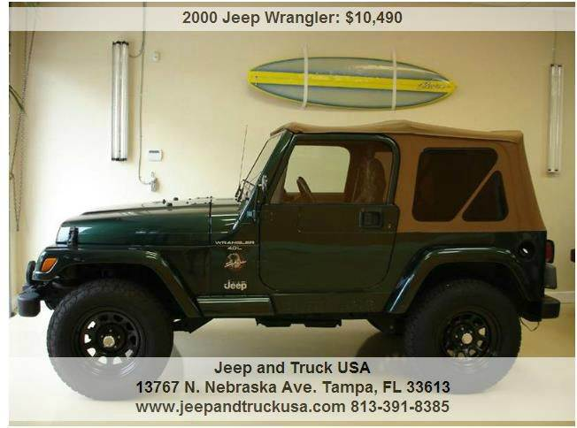 2000 jeep wrangler sahara in tampa fl jeep and truck usa. Black Bedroom Furniture Sets. Home Design Ideas