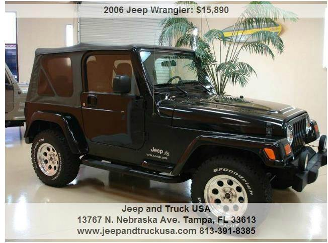 2006 jeep wrangler x in tampa fl jeep and truck usa. Black Bedroom Furniture Sets. Home Design Ideas
