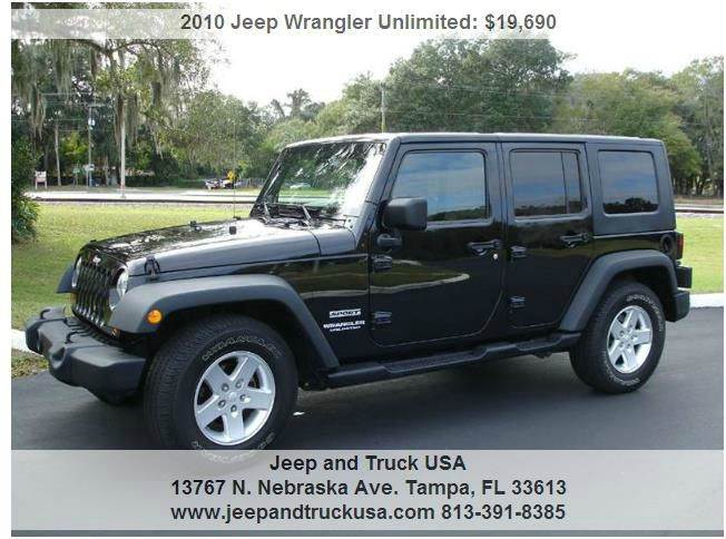 2010 jeep wrangler unlimited sport in tampa fl jeep and truck usa. Black Bedroom Furniture Sets. Home Design Ideas
