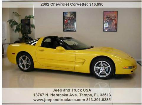2002 Chevrolet Corvette for sale at Jeep and Truck USA in Tampa FL