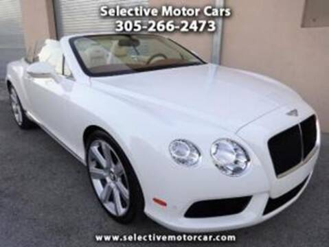 2014 Bentley Continental for sale at Selective Motor Cars in Miami FL