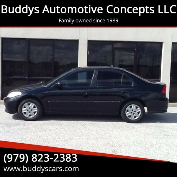 2005 honda civic value package 4dr sedan w front side airbags in bryan tx buddys automotive. Black Bedroom Furniture Sets. Home Design Ideas