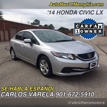 2014 Honda Civic for sale at AutoMax of Memphis - V Brothers in Memphis TN