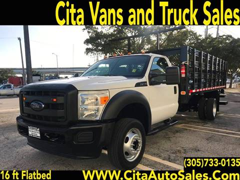 2012 FORD F-450 16 FT STAKE BED FLATBED MOT TRUCK F450 for sale at Cita Auto Sales in Medley FL