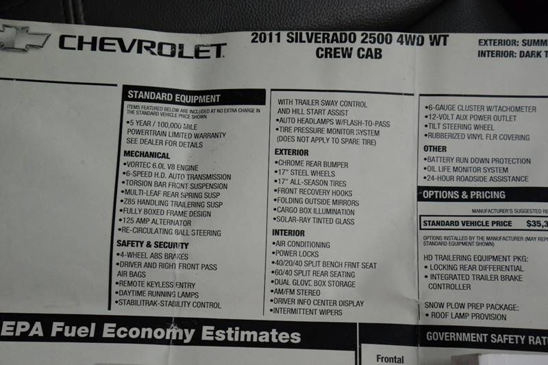2011 Chevrolet Silverado 2500HD 4x4 Work Truck 4dr Crew Cab SB - East Greenbush NY