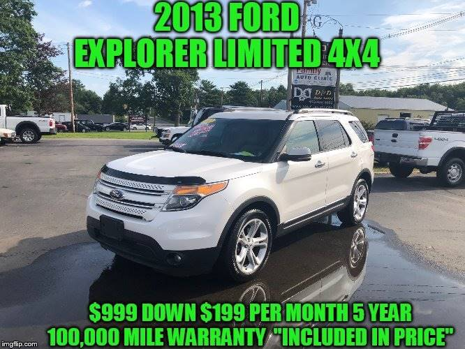 2013 Ford Explorer Awd Limited 4dr Suv In Rowley Ma D D